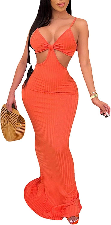 Remelon Women's Spaghetti Super sale period limited Strap Sexy Beac Hollow Out Maxi Max 72% OFF Skinny