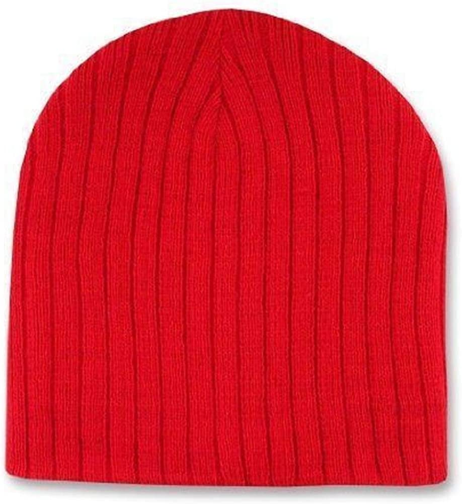 Red Cable Beanie Stocking Cap Winter Stocking Hat Biker Skully Ribbed