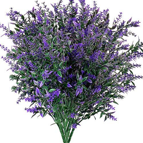 Artificial Plants Lavender Faux Breath UV Resistant Fake Shrubs Simulation Greenery Bushes House Office Garden Patio Indoor Outdoor Decor Wedding Table Flowers Arrangement Bouquet Filler - 6pcs