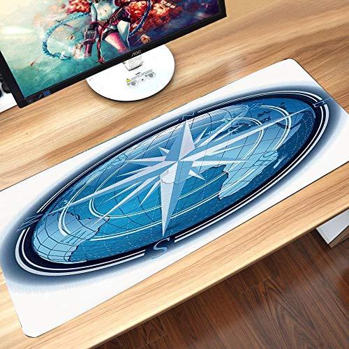 Gaming-Mauspad Gummiunterseite,Kompass-Dekor, abstrakte Komposition mit Globus und Windrose Kontinente Ozean,Schreibtischunterlage Abwischbar Anti Rutsch Matte Multifunktionales Office Mousepad60x35cm