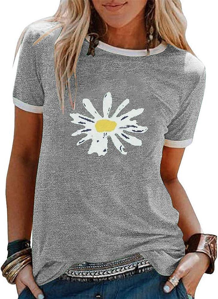 AP.Room Itsfunneh Womens Pattern T-Shirt Casual Short Sleeve O-Neck Summer Blouse Daily Wear