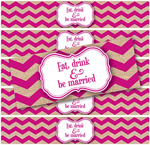 "24 WATERPROOF Water Bottle Labels; Burlap Chevron Print ""Eat, Drink and be Married""; Printed and ready to apply; Weddings, Party Favors, Events (Magenta)"