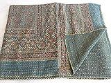 Tribal Asian Textiles Tagesdecke / Quilt, grüne Farbe, Ajrakh-Aufdruck, Kantha, wendbar