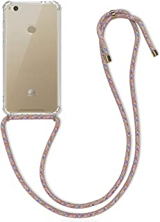 kwmobile Crossbody Case for Huawei P8 Lite (2017) - Clear Transparent TPU Cell Phone Mobile Cover Holder with Neck Cord Lanyard Strap - White Multi-Colored 48859.32
