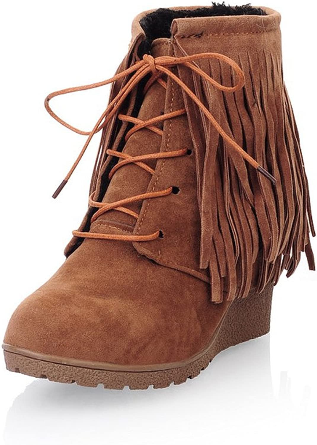 Lucksender Womens Closed Round Toe High Wedge Heels PU Frosted Lace Up Solid Boots with Tassels