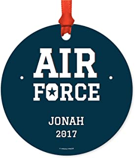 Andaz Press Personalized Military Round Metal Christmas Ornament, United States Air Force, Jonah, 2019, 1-Pack, Includes Ribbon and Gift Bag …