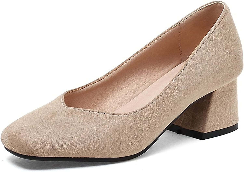 DecoStain Women's Sweet Suqare Toe Slip-on High Cone Heels Working School Pumps shoes