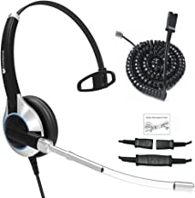 TruVoice HD-300 Deluxe Single Ear Headset with Noise Reduction Voice Tube and Bottom Cable to Work with Mitel, Nortel, Avaya Digital, Polycom VVX, Shoretel, Aastra, Fanvil, Digium + Many More