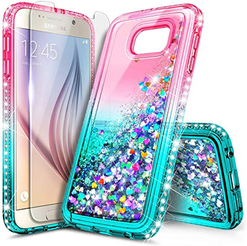 NZND Case for Samsung Galaxy S6 with Tempered Glass Screen Protector, Sparkle Glitter Flowing Liquid Quicksand with Shiny Bling Diamond, Women Girls Cute Phone Case Cover (Pink/Aqua)