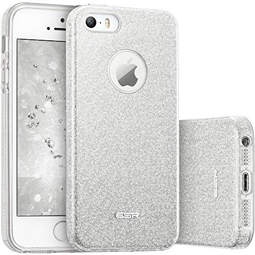 ESR iPhone SE 2016 Hülle, Glitzer Schutzhülle [Weiche TPU Abdeckung + Glitzer Papier + PP innere Schicht] [DREI in Einem] Hülle für iPhone SE 5S 5 (2016) -Silber
