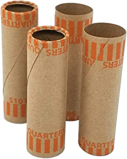 J Mark Burst Resistant Preformed Quarter Coin Roll Wrappers, Made in USA, 60-Count Heavy Duty Cartridge-Style Coin Roller Tubes, Includes J Mark Coin Deposit Slip