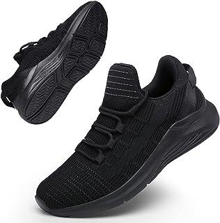GEMAX حذاء جري نسائي أحذية رياضية - أحذية مشي للنساء برباط أحذية تنس خفيفة الوزن, (اول بلاك), 37 EU