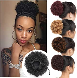 Thick Curly Updo Fluffy Scrunchy Hair Bun Extensions Afro Puff Drawstring Ponytail Kinky Puff Chignon Hairpiece with 2 Clips for African American Women-Natural Black Medium Size