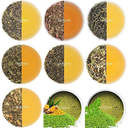 VAHDAM, Grüntee Sampler, 10 TEAS, 50 Portionen | 100% natürliche Zutaten | Detox Tee zur Gewichtsabnahme | Muttertagsgeschenk | Grüntee Lose-Blatt | Tee-Vielfaltpackung | Grüntee Kollektion