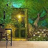 Misterioso árbol tapiz puerta montaje en pared bosque mágico área escénica seta Hippie Mandala pared alfombra decoración tapiz 150x200cm
