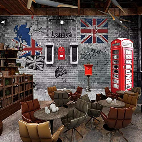 zhanghomey Papel Tapiz Mural Fotográfico 3D Europa Y Estados Unidos Cabina De Teléfono Retro Café Restaurante Papel De Pared-400X280Cm