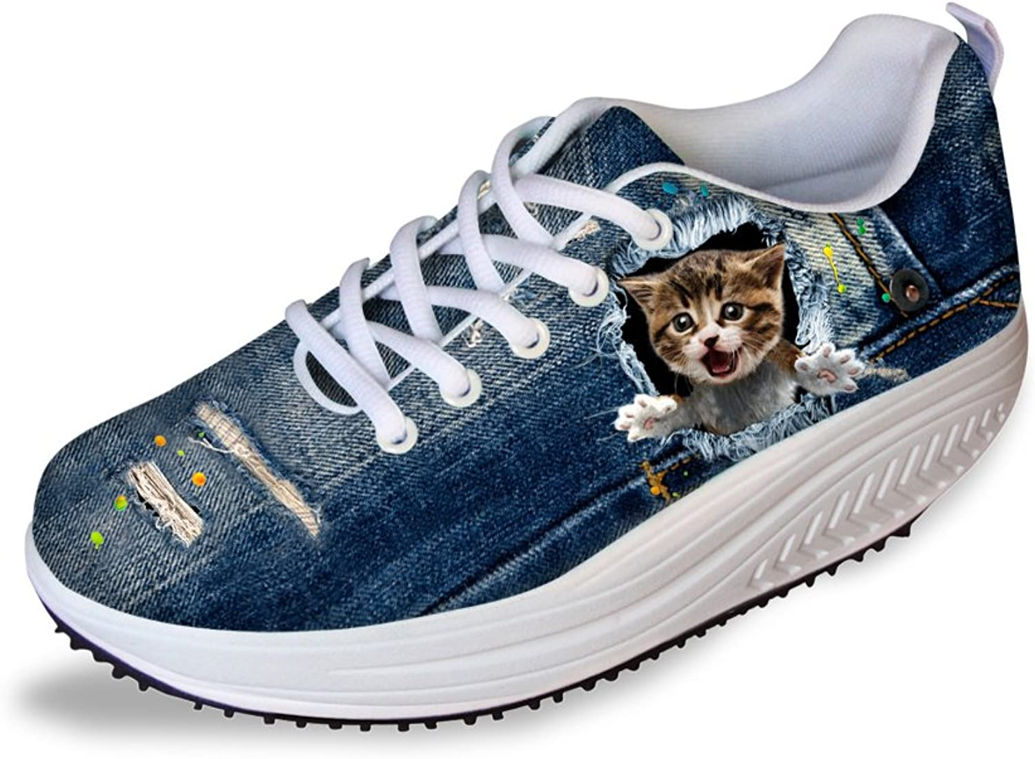 Doginthehole Toning shoes Denim 3D Cat Print Sneakers Women Fashion Swing shoes