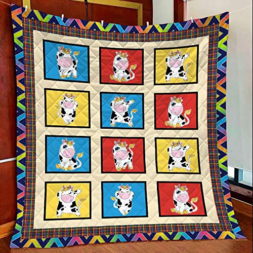 Amazing Cute Cow Collection Frames All Season Quilts Blanket Comforters Super King - Queen - Twin Size - Best Decorative for Bed, Couch, Sofa, Chair, Swing, Daybed, Home Decor
