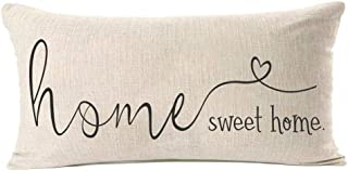 MFGNEH Home Sweet Home Quotes Farmhouse Pillow Covers 12x20 Inch,Home Decorative Throw Pillow Case Cushion Cover,Home Gift...