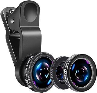 Yarrashop® 3 en 1 Teléfono móvil Kit de Lentes de cámara Lente Ojo de Pez + Lente Macro + Lente Gran Angular para iPhone Samsung iPad Huawei y Otros Teléfonos Inteligentes(Negro)