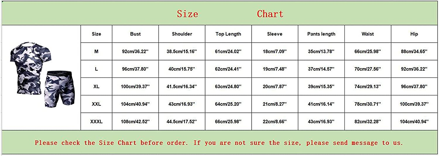 Men's Tracksuit Athletic Shirt and Shorts Set Camouflage Tight Elastic Quick-Drying Fitness Tops Shorts Suits