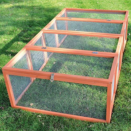 zooprinz brandneues Freilaufgehege Rabbit Run 2020 für draußen - ideal für Kleintiere - Besonders Stabiler und großer Holzrahmen - Mobiler Freilauf mit umweltfreundlicher Farbe lasiert in Rot-Braun