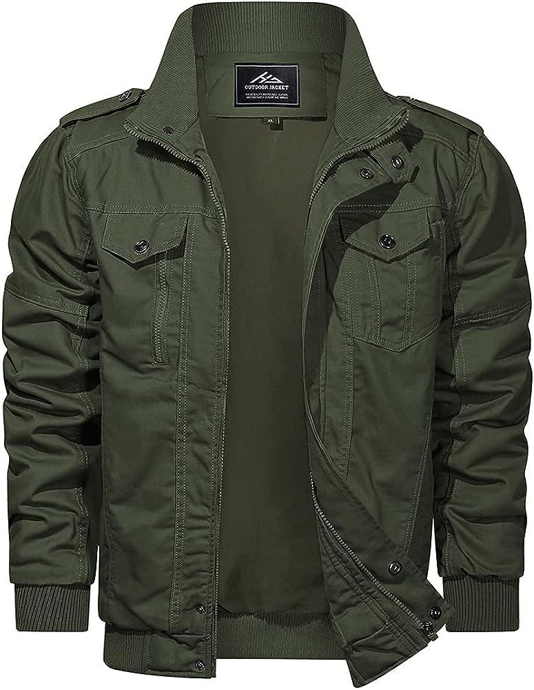 HJWWIN Great Award-winning store interest Men's Cotton Lightweight Military Style Cargo Jacket Army