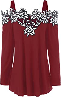 DEZZAL Women's Long Sleeve Cold Shoulder Floral Embroidered Blouse