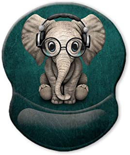 ITNRSIIET Ergonomic Mouse Pad with Gel Wrist Rest Support, Personalized Cute Green Pattern Headset Music Elephant, Pain Re...
