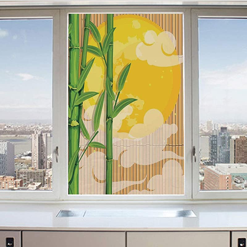 3D Decorative Privacy Window Films Bamboo Tree Branches Full Moon And Abstract Curvy Clouds Stars Eastern No Glue Self Static Cling Glass Film For Home Bedroom Bathroom Kitchen Office 17 5x36 Inch