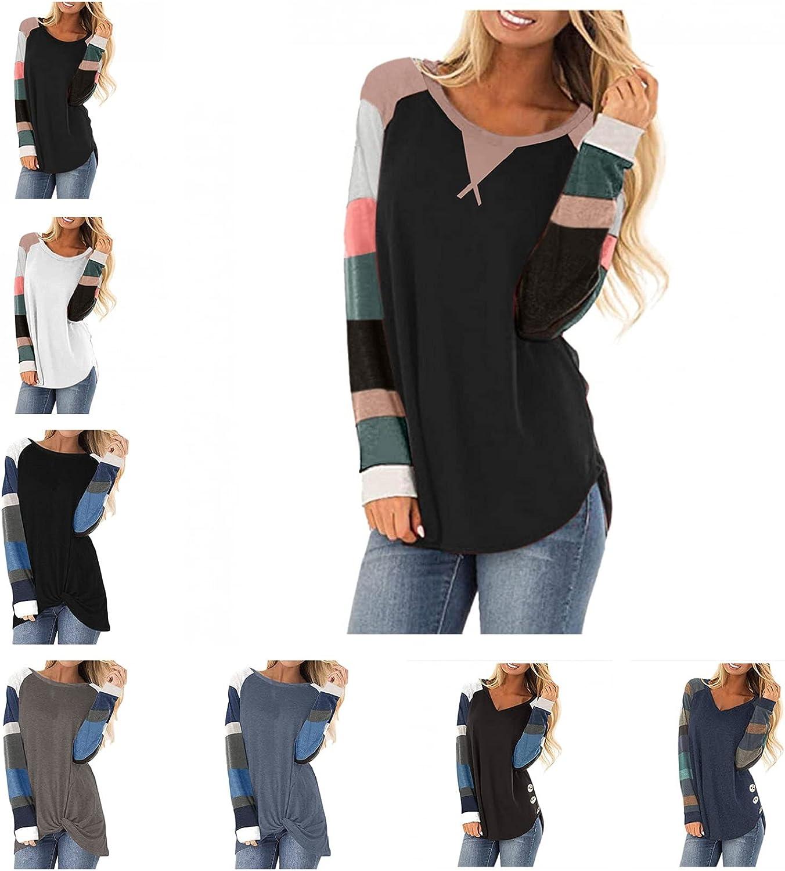 FABIURT Fall Sweaters for Women,Womens Crewneck Sweatshirts Color Block Tunic Long Sleeve Pullover Tops