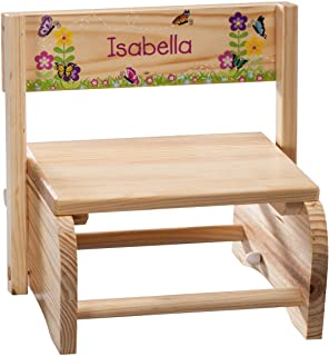 Fox Valley Traders Personalized 2-in-1 Children's Step Stool and Chair, Customized with Kid's Name, Butterflies and Flowers Design