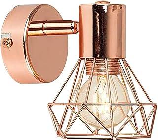 Lámpara LED de pared dorada rosa con pantalla de jaula de metal, lámpara de pared con casquillo GU10 (amuela incluida), tamaño pequeño 12 x 15 cm