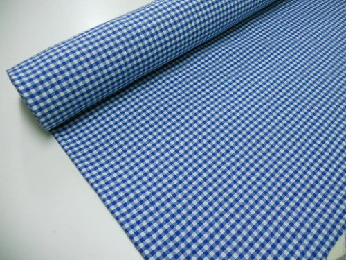 Confección Saymi Metraje 2,45 MTS Tejido Vichy, Cuadro pequeño 5x5 mm. Color Azul, con Ancho 2,80 MTS.