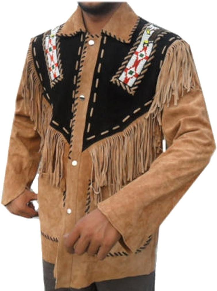 coolhides Men's Cowboy Western Leather Jacket with Fringes & Beads