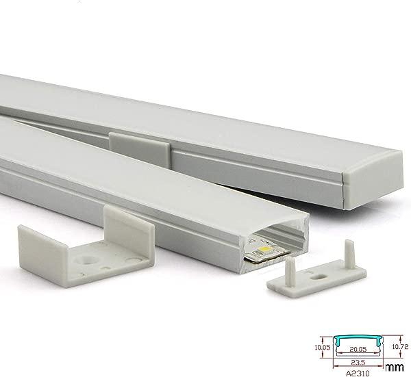Culver Led U 形 LED 铝通道系统带盖端盖和安装夹子铝型材用于 LED 条形灯安装 led灯扩散器段 2310 3 1mt 10 包