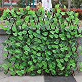Voyoo Expanding Trellis Fence Retractable Fence Artificial Garden Plant Fence -UV Protected Privacy Screen for Outdoor Indoor Use Garden Fence Backyard Home Decor Greenery Walls