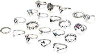 20 Pcs Knuckle Rings Vintage Stackable Midi Finger Ring Set for Women Girls Bohemian Retro Vintage Jewelry
