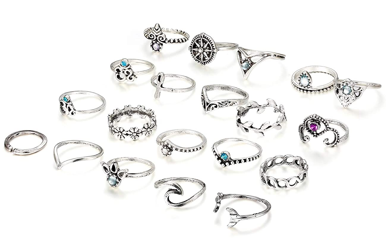 Finrezio 20 Pcs Knuckle Rings Vintage Stackable Midi Finger Ring Set for Women Girls Bohemian Retro Vintage Jewelry