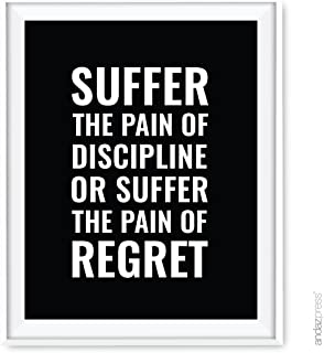 Andaz Press Gym Fitness Wall Art Collection, 8.5x11-inch, Suffer The Pain of Discipline or The Pain of Regret Poster Print, 1-Pack, Unframed