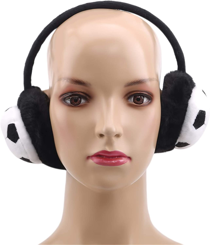 Kyoidy Warm Fluffy Earmuffs Winter Soft Plush Ear Warmers Lovely Cartoon Football Earmuffs for Boys Outdoor Warm Ear Covers,Gray