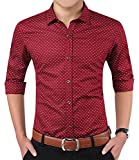 YTD Mens 100% Cotton Casual Slim Fit Long Sleeve Button Down Printed Dress Shirts US XL Wine Red