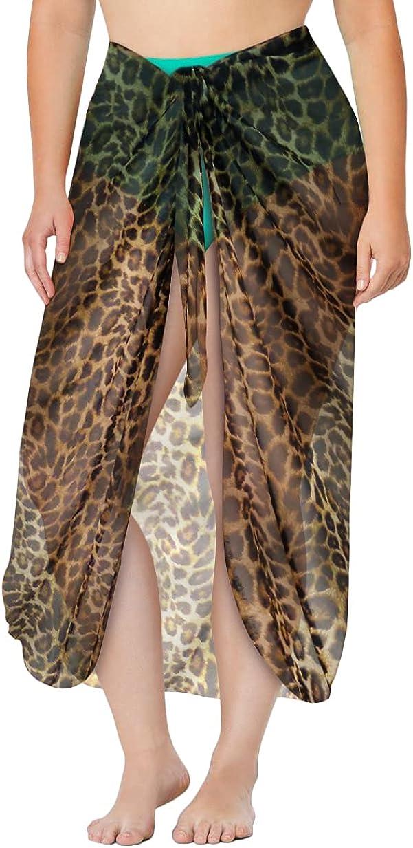 Sanctuarie Designs Plus Size Leopard Print Sheer Supersize Sarong Swimsuit Coverup