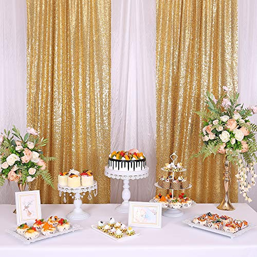 KNGKILQN Gold Sequin Backdrop Curtain - 2 Panels 2.2x8FT Gold Glitter Backdrop Party Photo Sequin Curtains Wedding Brithday Christmas Sparkle Photography Background