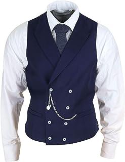 Mens Double Breasted Waistcoat with Chain - Cavani Lennox
