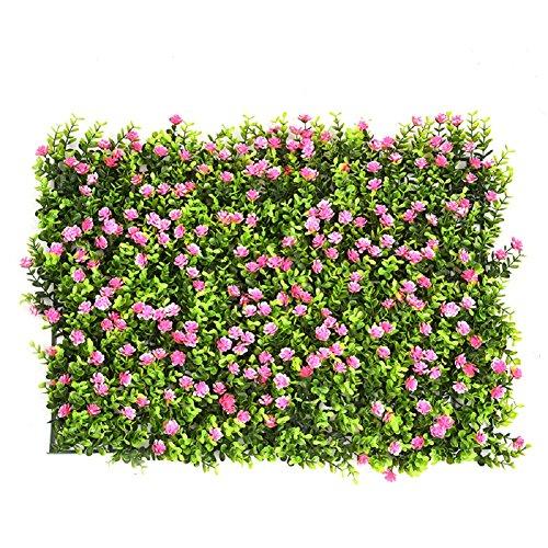 Haie de buis artificiel (feuilles et fleurs) - Décoration pour la maison, le jardin, le balcon, la terrasse - Intérieur ou extérieur - 63 x 44 cm 6PCS Style_B