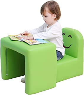 Emall Life Multifunctional 2in1 Children's Armchair Kids Wooden Frame Chair and Table Set CPSC Certified Boy's and Girl's Armrest Chair Easy to Clean (Green)