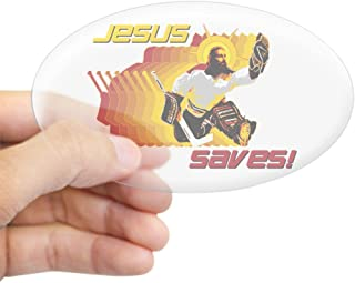 CafePress Jesus Saves Oval Sticker Oval Bumper Sticker, Euro Oval Car Decal