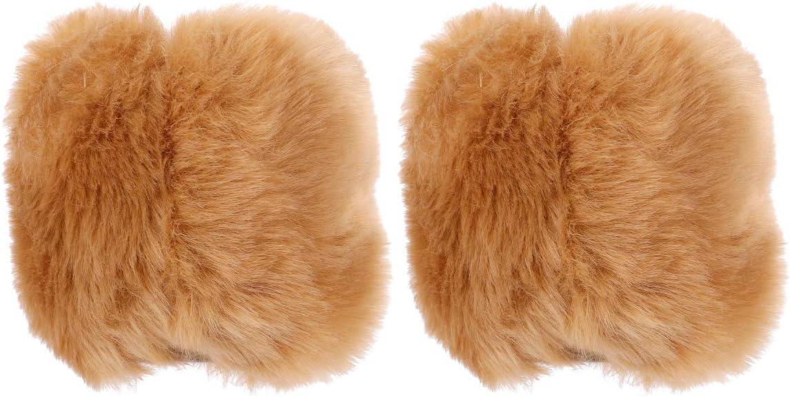 PRETYZOOM 1 Pair Women Winter Faux Fur Arm Warmers Hairy Short Sleeves Wristband Glove