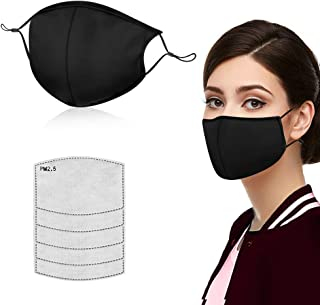 Face Masks for Anti Pollution Dust,Washable and Reusable Cotton Face Mask, Adjustable Ear Loop Protective Mask with 5PCS P...
